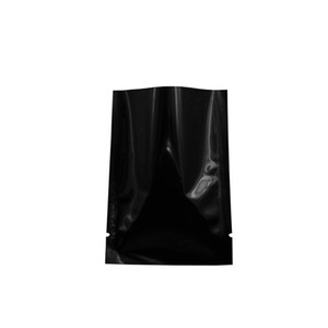 Glossy Black Top Opening Food Grade Bag Heat Seal Aluminum Foil Vacuum Packing Storage Pouch Tea Candy Nuts Bag Wholesale