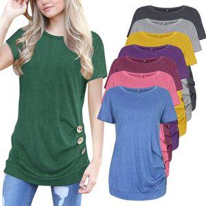 Лето конфеты цвет женщины футболка с кнопкой украшения короткие рукава экипаж шеи верхней одежды S-2XL