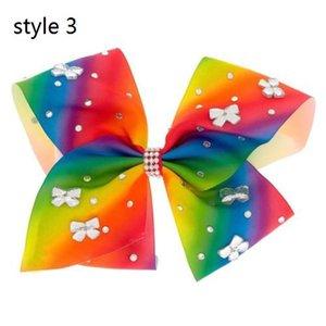 ¡NUEVO estilo de LLEGADA 3 disponible! JoJo Siwa RAINBOW Gran arco para el pelo Gem-tastic con diamantes de imitación en forma de arco redondo CABECERO 6pcs /