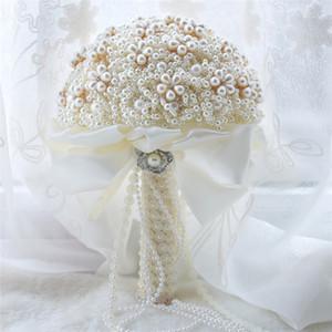 Hochzeitsdekoration Luxuriöse Brautstrauß Perlen Künstliche Hochzeit Bouquet Sparkle bouquet de mariage 2018 Zum Verkauf