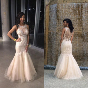 Tule Lace Appliqued High Neck Champagne Sereia Vestido De Prom Sparkly Vestido de Noite Vestido Largo Fiesta Noche Elegante