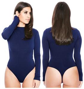 Donne Tute Curve Solide Donna Maniche lunghe Skinny Shapers Girocollo Tute a vita alta Pagliaccetti donna S-XL Eur Taglia US
