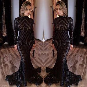 2020 vestidos de noche brillante barato Negro con lentejuelas encaje de cuello alto de manga larga de la longitud del piso de baile vestidos de partido de la sirena de los vestidos de noche formales