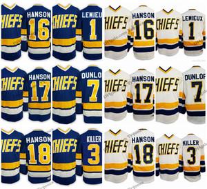 Película Hanson Brothers Jefe Charlestown 17 Steve Hanson 18 Jeff Hanson 16 Jack 1 Denis Lemieux 3 Dave Killer 7 Reggie Dunlo Jersey de hockey