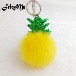 Sevimli Chaveiro Meyve Ananas Anahtarlıklar Ponpon Kürk Topu Glitter Yaprak Sequins Anahtarlık Kadın Çanta Kolye Araba Anahtarı Zincirleri Tutucu Diy