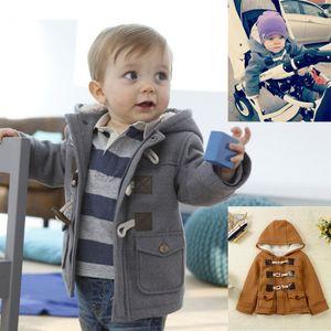 Baby Boys Horns fibbia Felpe con cappuccio Spessa giacca Inverno Capispalla Cappotto Abbigliamento per bambini Capispalla Cappotto Abbigliamento per bambini con cappuccio