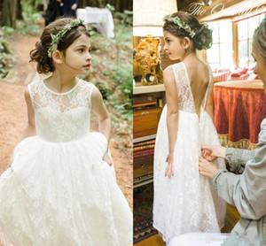 Романтический 2018 Boho country Flower Girl платья для свадьбы дешевые кружева многоуровневое формальное театрализованное свадьба день рождения причастие вечернее платье