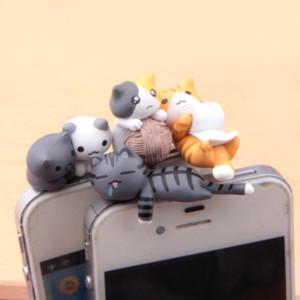 Jiajia Kedi Serisi 4 kediler 3.5mm genel karikatür cep telefonu toz tuzağı toptan