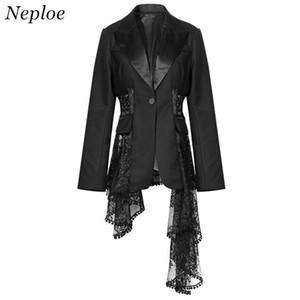Neploe del cordón del remiendo solo botón Blazer Mujeres Bolsillos delgado hueco femenino de la capa Outwear 68797 2018 Otoño Nueva Moda