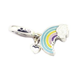 Nouveau Authentique 925 Argent Perle émail arc-en-Sterling de l'amour Hanging Charm Fit original Marque Charm Bracelets bricolage de bijoux Charms