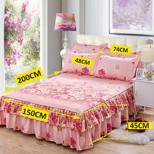 New Style Sanding Thickened Bed Skirt Dual Layers Bed Cover Fitted Sheet Queen Skirt Dust Ruffle Home Supplies Dropshipping