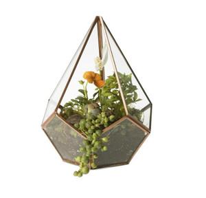 16 * 23 cm New Miniature En Verre Terrarium Géométrique Diamant De Bureau De Jardin De Table Succulente Mousse De Fern Plante Bonsaï
