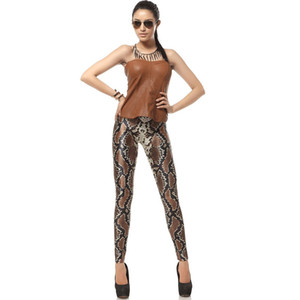 Soft High Waist Stretchy Scale Tights Autumn Winter women's clothing snake print legging digital Brown Cool Fashion print leggings