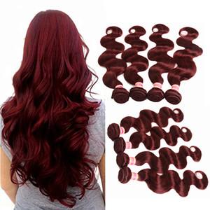 Burgundy Weave Bundles 99J Malaysian Indien Péruvien Vierge Cheveux Vague De Corps Rouge Couleur Bundles De Cheveux Humains Bundles Brésilien Vague De Corps Cheveux Extensions