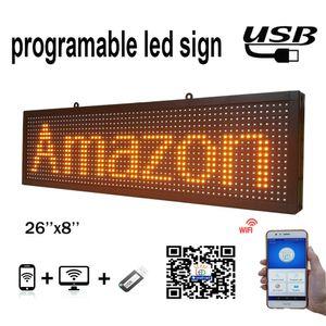 Signo de LED amarillo interior P10 de 26x8 pulgadas P10 Inalámbrico y envíeos USB Información de la pantalla LED