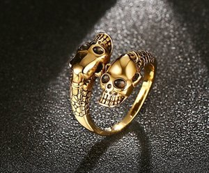 Punk Skull rings for women Jewelry gothic open adjustable men's personality rings free size gold Silver rings