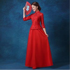 Longue robe de mariée chinoise en dentelle Cheongsam femmes rouge Shanghai Story longue robe de mariée chinoise Qipao Cheongsam robe de soirée