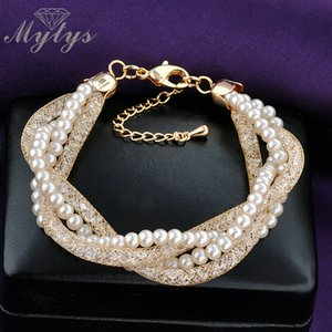 Mytys Multi 4 Layers Bracelet 2 Pearl chain and 2 Crystal Rope Tube تصميم شبكة سوار B902