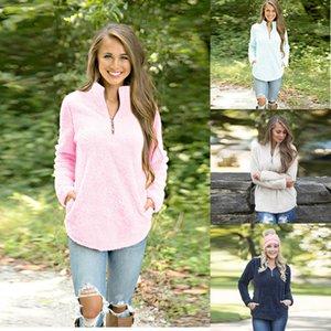 Les femmes d'hiver d'automne à manches longues à capuche en laine Sherpa overs Sweat-shirt surdimensionné col en V à manches longues Zipper Pulls Tops 4 couleurs