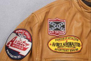 2 ЦВЕТА AVIREXFLY мотоциклетные кожаные куртки воротник стойка кожаную AIR DROIVIE Avirex аэронавтике куртку