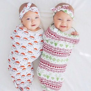 Wholesale Newborn Baby Sleeping Bag Cute Sleep Sack Christmas Cocoon Sack with Matching Headband hat 2pieces set