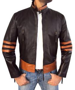 Véritable WOLVERINE mens designer veste manteaux en cuir synthétique Slim Fit moto vestes pardessus Homme PU manteaux en similicuir manteaux coupe-vent