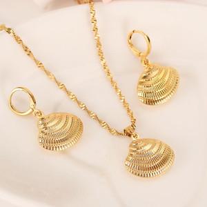 Africa 14k giallo fine oro solido GF carino guscio collana orecchini alle moda donne gioielli gioielli fascino ciondolo catena animale fortunato gioielli set