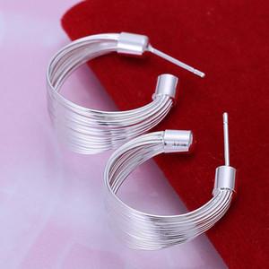 2018 Fine 925 Sterling Silver Earring, XMAS Trendy New Style 925 Silver Multi-line ear butyl Para mujeres Enlace de joyería de moda Italia Lovely XE05