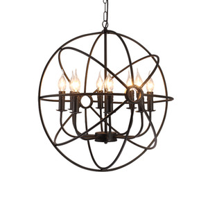 Dia40cm 50 cm 60 cm 80 cm Retro Black Globe E14 Colgante de luz Lámpara redonda de suspensión colgante de óxido para la tienda de café Estudio de sala G103
