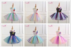 Unicornio Rainbow Gradient Color Mesh Lace Sling Dress con Unicorn Head Head Hoop Trajes Baby Girls Clothing Vestidos de fiesta M035