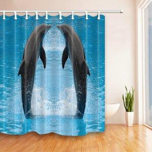 Bestseller Schöne Dolphin Show Duschvorhänge 69 X 70 Zoll Polyester Stoff Wasserdicht Home Badezimmer Zubehör Blackout Hanging Curtain