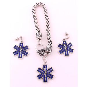 Moda Medic Burcu Caduceus Ve Güzel Mavi Kristaller Charm Yılan Sarkık Kolye Küpe Seti Takı Damla Nakliye Sağlamak