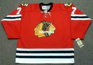 Personalizado Mens PIT MARTIN Chicago Blackhawks 1960's CCM Vintage Barato Retro Hockey Jersey