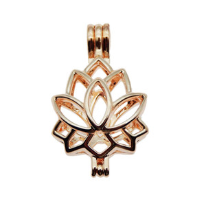 10 unids Rose Gold Lotus charm Pearl Jaula Jewelry Making Beads Jaula Colgante Aroma Essential Oil Difusor Locket para Oyster Pearl