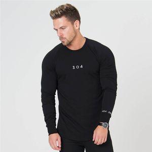 2018 hommes nouveaux mode casual gyms slim 304 impression T-shirt hommes Fitness Bodybuilding marque rayé à manches longues t-shirts Tops
