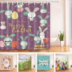 5 Stile 180*180 cm Ostern Stil Duschvorhang Polyester Wasserdicht Bad Vorhang Cartoon Osterhase Wohnkultur Vorhänge T2I075