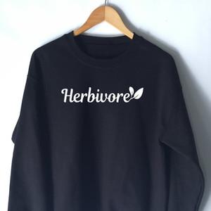 Herbivore Sweatshirt Aesthetic Casual Vegetarian Crewneck Hipster Spring O-Neck Vegan Tumblr Herbivore Hoodies Jumepr Tops