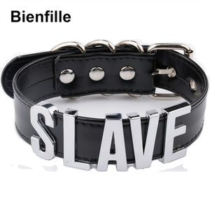 whole saleFashion Gold Men Necklace Women Girl Silver Slave Name Word Customized Collar Buckle Necklace Black PU Leather Kawaii Jewelry