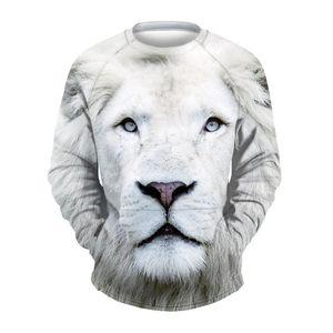 Wholesale free shipping Fashion Mens hoodies and sweatshirts 3d Print White lion Monkey Head Hip Hop Casual Sportswear