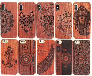 Genuine Caso de madeira Para Iphone 11 XS Max XR 7 8 Plus Hard Cover Carving Telefone de madeira Shell para o iPhone Bamboo habitação de luxo S9 Retro Protector