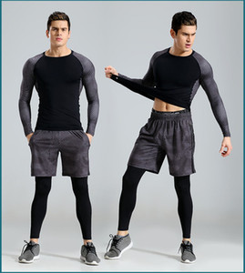 2017 New 3Pcs Running Set Men Snake Quick Dry Mens Sport Suit Fitness Tight Gym Clothing Training Suit Workout Men's Sportswear