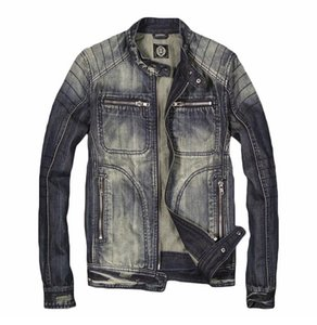 Giacche da moto biker colletto da uomo di marca BONJEAN Giacche vintage blu denim Slim Fit Zipper Moto Jeans Coat Drop Shipping