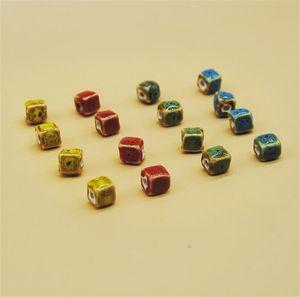 XINYAO 50 Unids / lote Multicolor Forma Cuadrada Granos de Cerámica Diámetro 8 10mm Granos Hechos A Mano de Porcelana Para La Fabricación de Joyas Diy