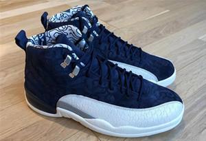 2018 Yeni 12 12 s erkek basketbol ayakkabıları Uluslararası Uçuş mavi beyaz erkekler eğitmenler Atletik spor sneakers boyutu 7-13