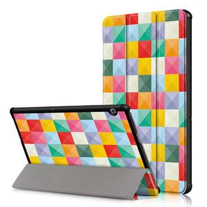 """화웨이 MediaPad T5 10 10.1 """"인치 AGS2-W09 / L09 / L03 / W19 Tablet Funda PU 가죽 케이스 + 펜용 Folding Folio Cover"""