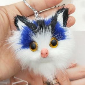 Encantador de las mujeres mullidas llaveros gatito lindo gato llavero para las niñas pompones de piel llavero del coche monedero colgante pom pom llaveros joyería