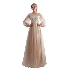2019 neue elegante schiere Juwel Hals Brautjungfer Kleider Langarm eine Linie bodenlangen Trauzeugin Hochzeit Gast Kleid nach Maß