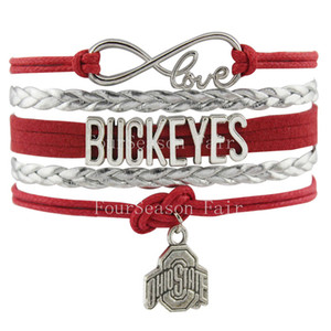 Custom -Infinity Love Ohio State Buckeyes Football Team Bracelet Braided Leather Adjustable Bracelet Bangles For Football Fans