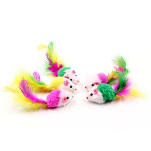 Colorido suave paño grueso y suave juguetes falsos del ratón para la pluma del gato que juega divertido del animal doméstico del perro del gato pequeños animales de la pluma juega el gatito