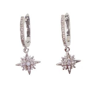 Pendientes colgantes de circonitas colgantes en forma de estrella de cristal de alta calidad Pendientes colgantes de copo de nieve elegent 3 colores para fiesta